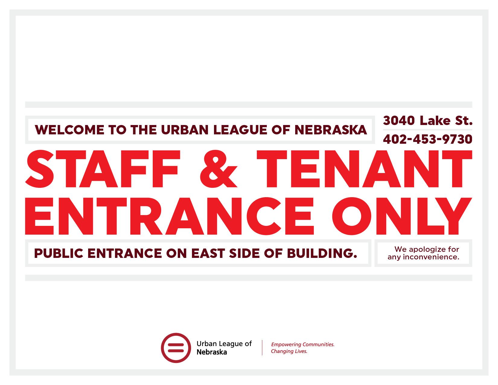 Staff entrance sign -