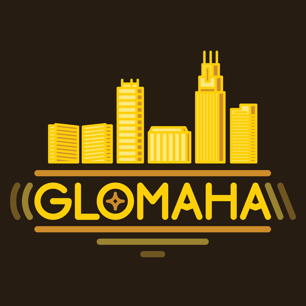 Glomaha - Glomaha is a dance party and full service wedding DJ company focused on bringing quality music to your event. The look is derivative of a simple neon light, the client was very keen on that aspect. The color palate is an ode to disco music. All type is custom.