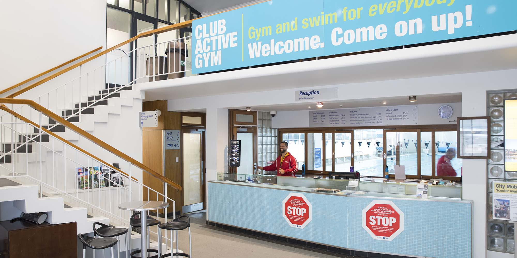 Reception area at Freyberg Pool & Fitness Centre.