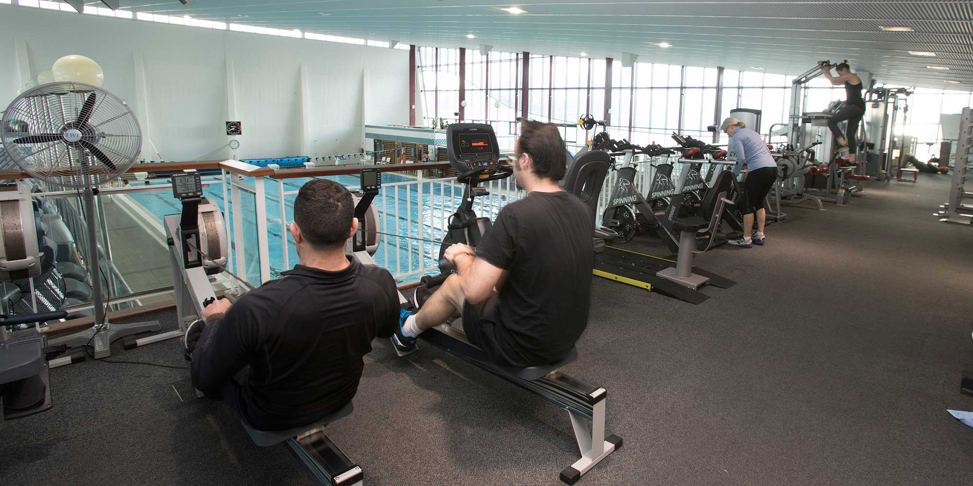 Using the rowing machines at Freyberg Pool & Fitness Centre.