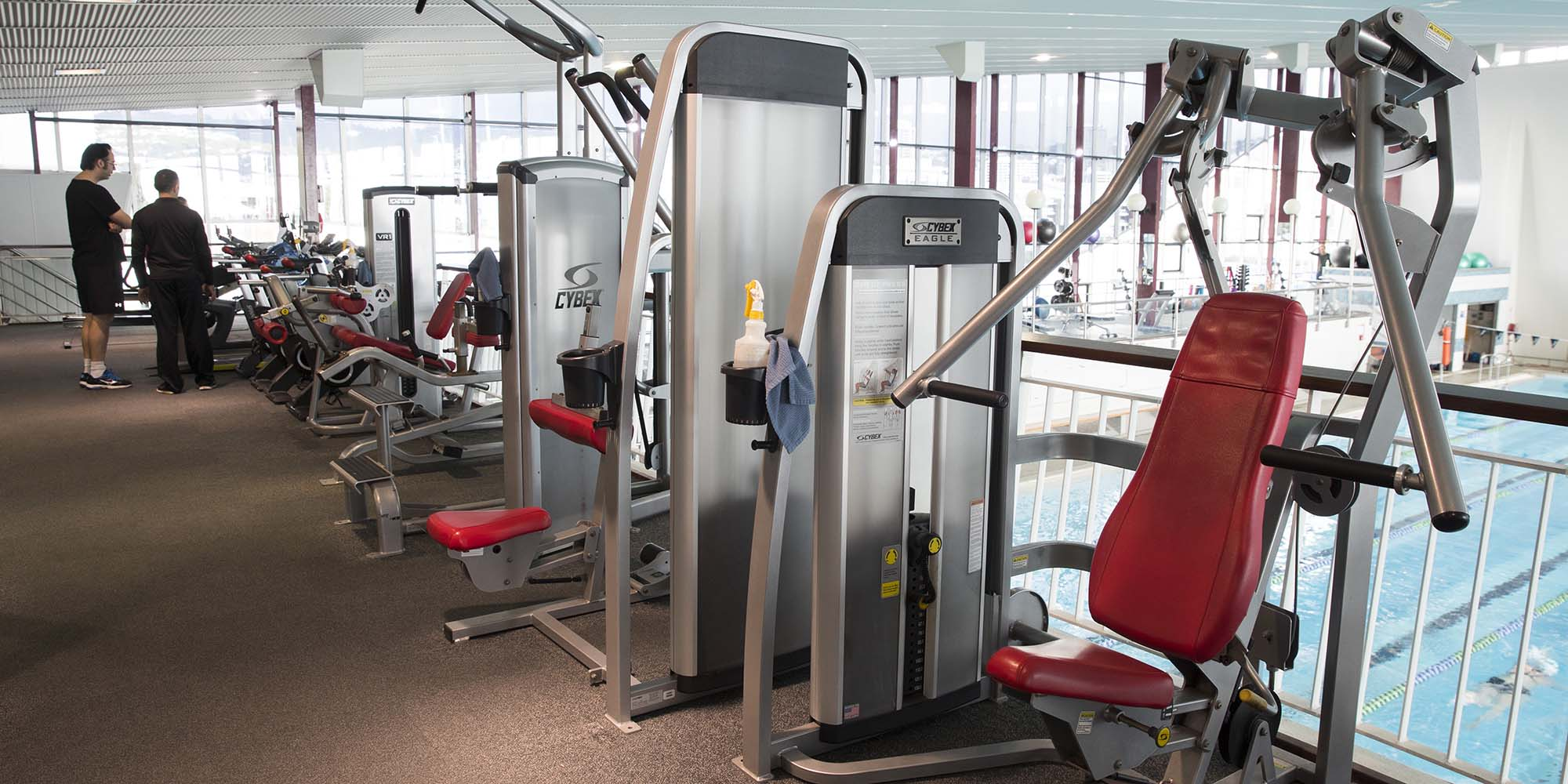 Gym equipment at Freyberg Pool & Fitness Centre.