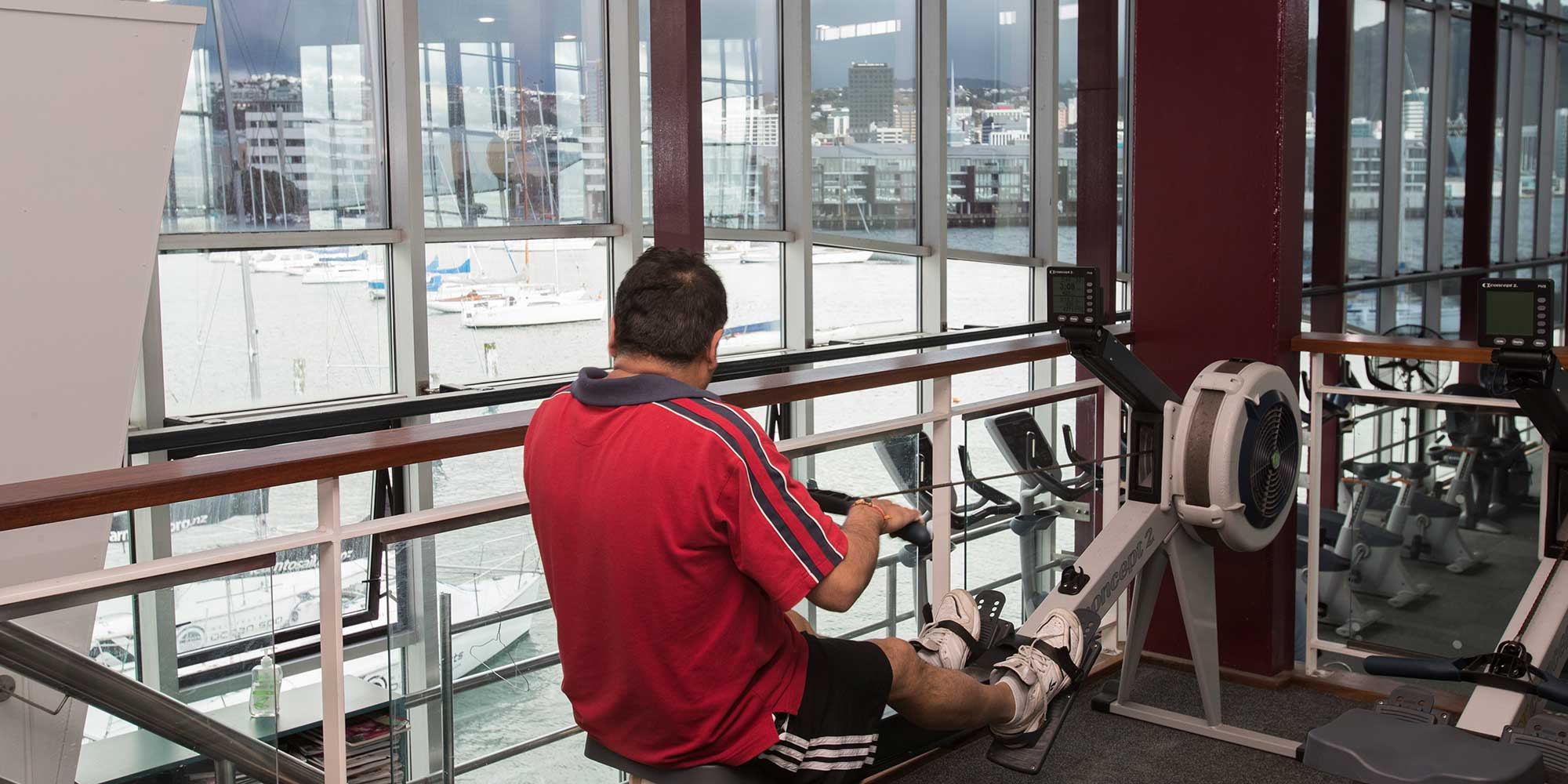 Looking at the view while using the rowing machine at Freyberg Pool & Fitness Centre.