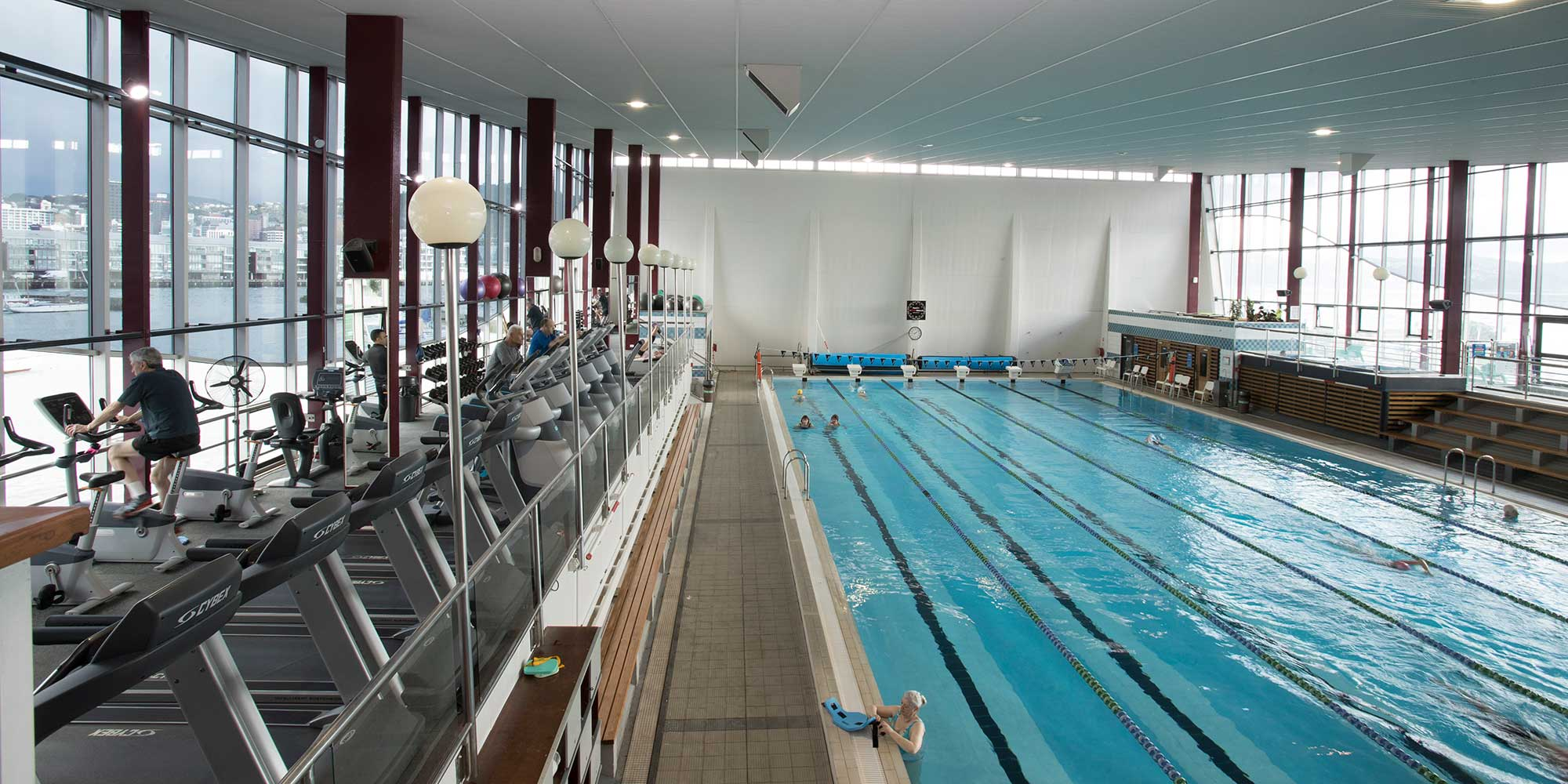 Internal view of the pool at Freyberg Pool & Fitness Centre.