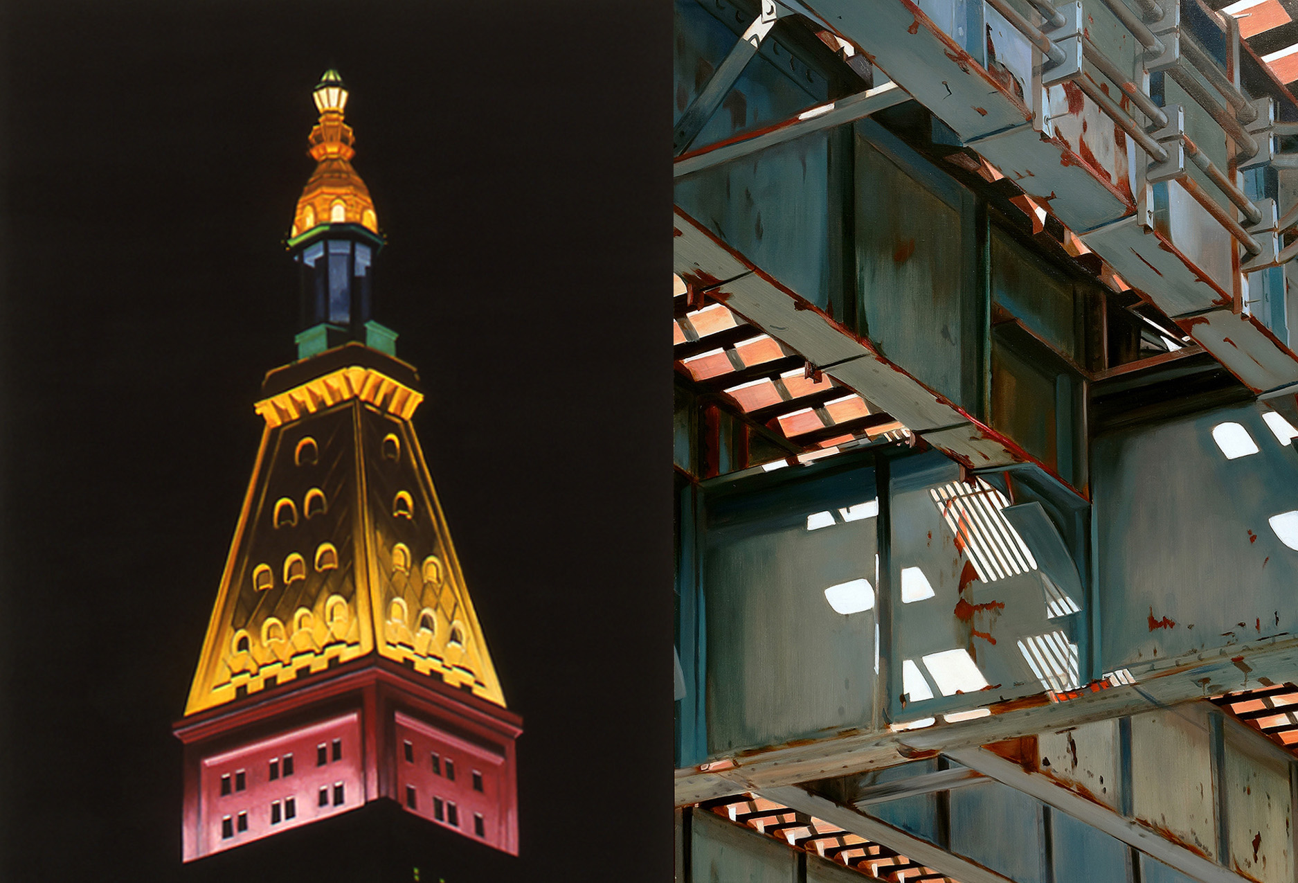 "Left: Sharon Florin, Easter Bonnet (2003), Oil on canvas, 36"" x 24""; Right: Allan Gorman, Z Line Zs (2017), Oil on linen, 64"" x 52"""