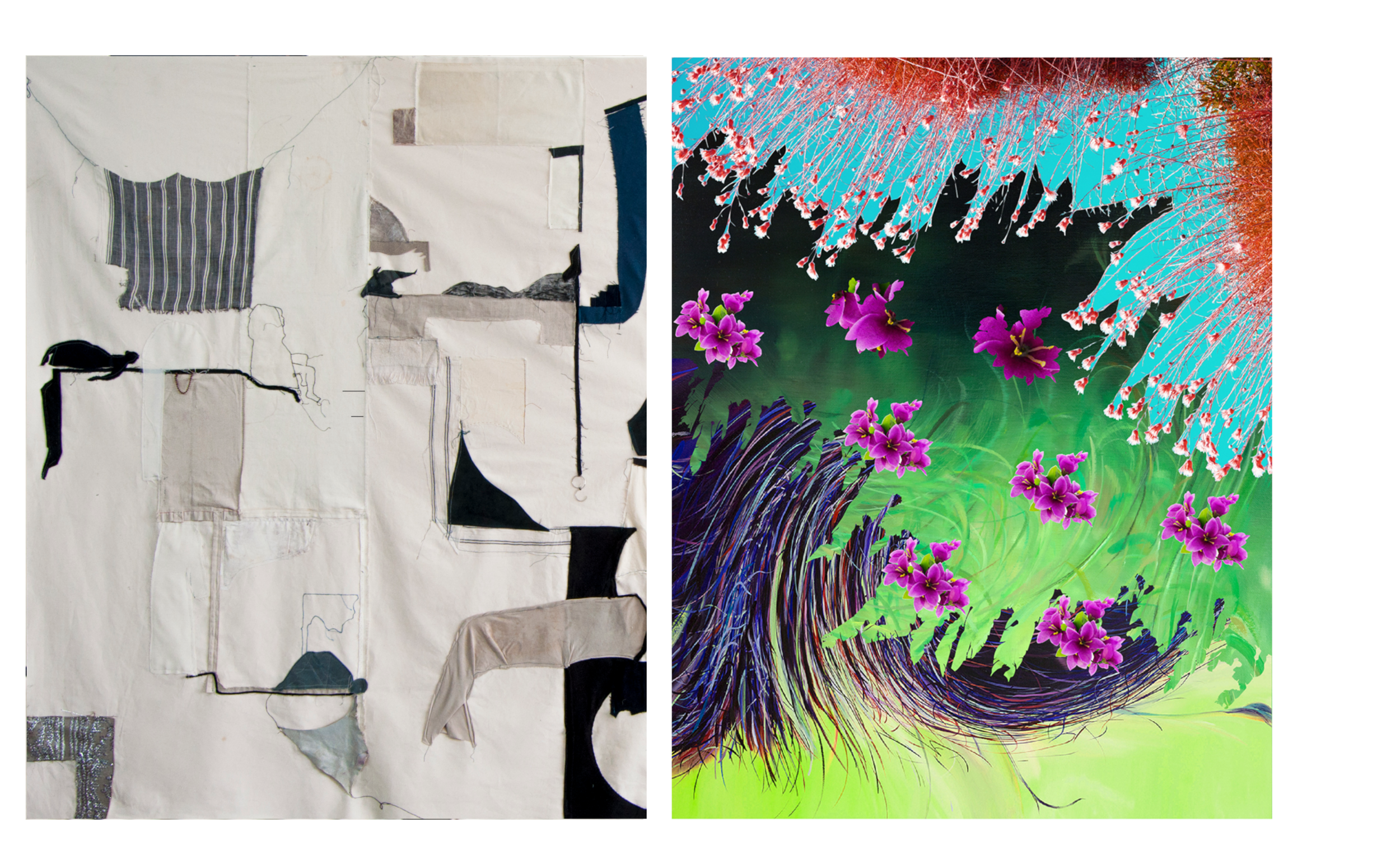 """Left: Fanny Allié, New Work for the Yard Gowanus (2019), mixed media, 60"""" x 108"""" (detail)  Right: Ketta Ioannidou, """"River I"""" (2016), archival Pigment print on paper, Edition of 5 (framed), 20"""" x 16"""""""