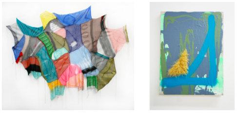 """LEFT)  SOFT GEOMETRY NO. 5 , THREAD, YARN AND NAILS, 52"""" X 54"""" BY MELISSA DADOURIAN; (RIGHT)  OUR POSITION , MIXED MEDIA, 32"""" X 24"""" BY WAYNE ADAMS"""