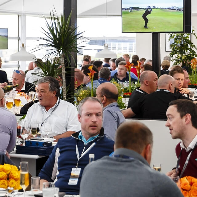 The Claret Jug Pavilion - Starting at £795 Per PersonEntertaining guests at The Claret Jug Pavilion is the most exclusive hospitality experience at The 147th Open.With dramatic floor-to-ceiling windows overlooking the 18th hole, this prestigious à la carte restaurant is a stunning setting to take in the action at Carnoustie. From the moment of arrival, you and your guests will be treated to the finest selection of Scottish cuisine created by our award-winning chefs. Dedicated servers will ensure that all your requirements are looked after, leaving you to relax and soak up the atmosphere at golf's original Championship.You can also choose a table to suit the size of your group up to a maximum of 12 guests.