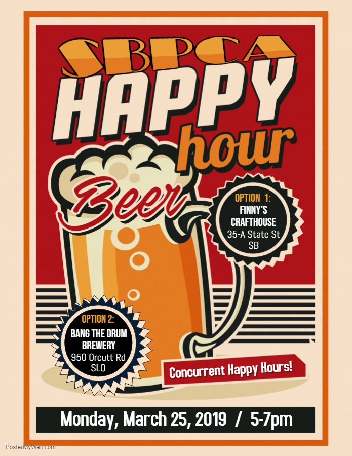 Happy Hour - MONDAY, MARCH 25, 20195:00-7:00pm@ Finney's Crafthouse & Kitchen35-A State St, Santa Barbara-and-@ Bang the Drum Brewery950 Orcutt Rd, San Luis ObispoSince our members and other area-RPCVs are spread out through our local geographic region, we held concurrent gatherings this month. We got happy in Santa Barbara (at Finney's Crafthouse & Kitchen) AND in San Luis Obispo (at Bang the Drum Brewery) at the same time.