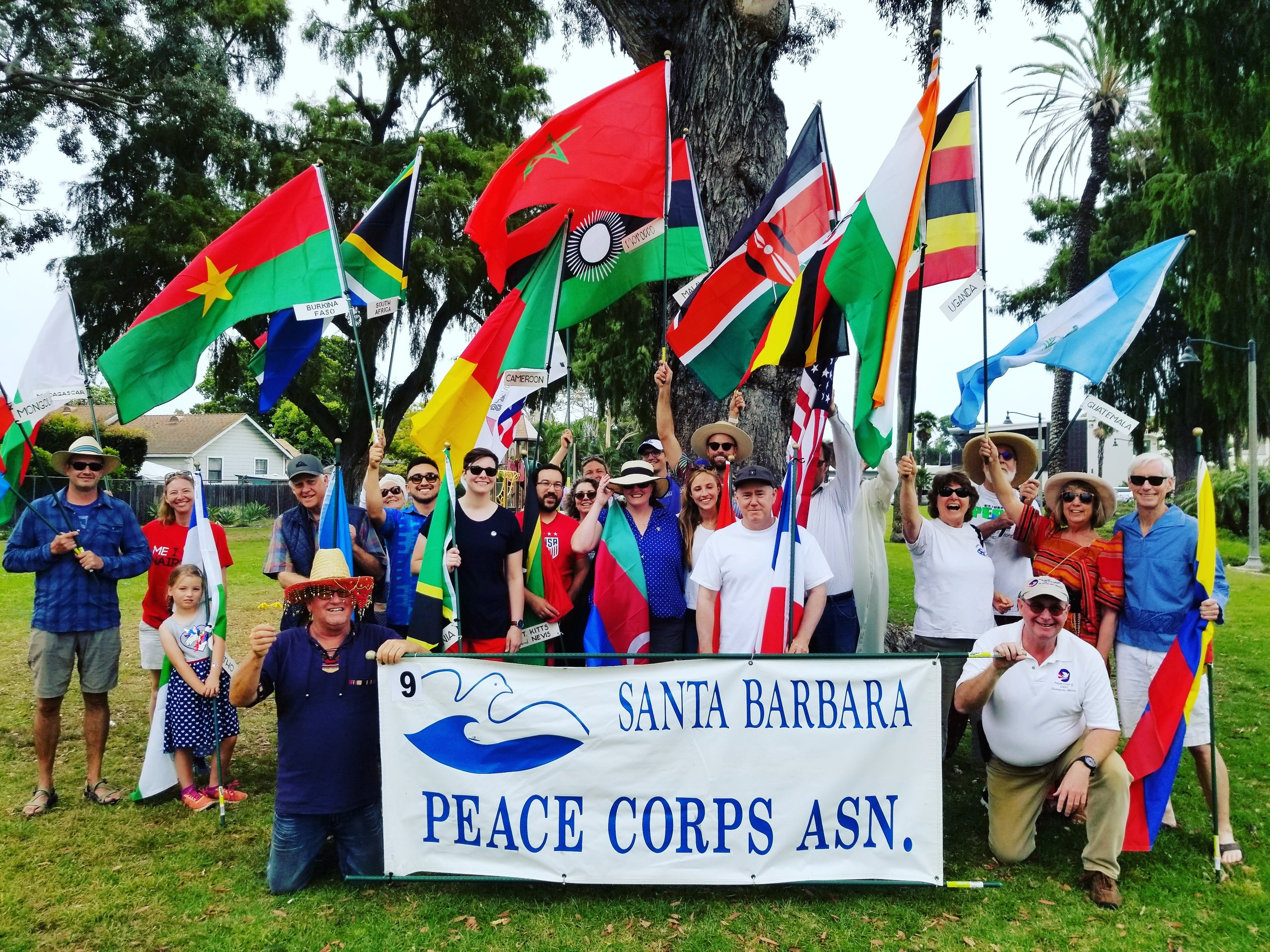 4th of July Parade & Lunch - THURSDAY, JULY 4, 20191:00pm Parade down State StreetThanks to all of you who came out to be a part of our mighty parade group! We walked proud representing the ideals of the Peace Corps and reminding people that the Peace Corps is still active and an important and positive part of our country's global connection and legacy. And what an awesome and colorful group we were!We even got mentioned in Noozhawk's article about the parade!We also want to give a big plug for the Rose Cafe on Haley Street. Owner George Guevara and his staff went above and beyond for us when our original lunch plans fell through after the parade. We called the Rose Cafe to see if they could accommodate our large group. They said unfortunately, they had just cleaned the kitchen and closed. But minutes later George used his caller ID and called us back to say if we still wanted to come, they'd re-open the kitchen and restaurant just for us — and they did! We had a great lunch with wonderful service. Rose Cafe and George Guevara for the win!