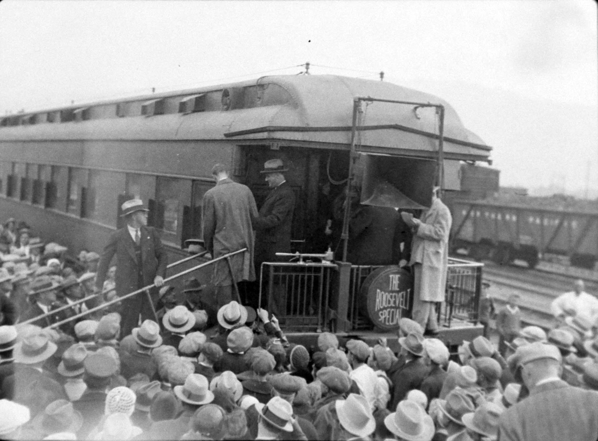 President Franklin D. Roosevelt arrives at the Depot via the The Roosevelt Special. Photo 32-029-26_C. Owen Smith courtesy of Butte-Silver Bow Public Archives