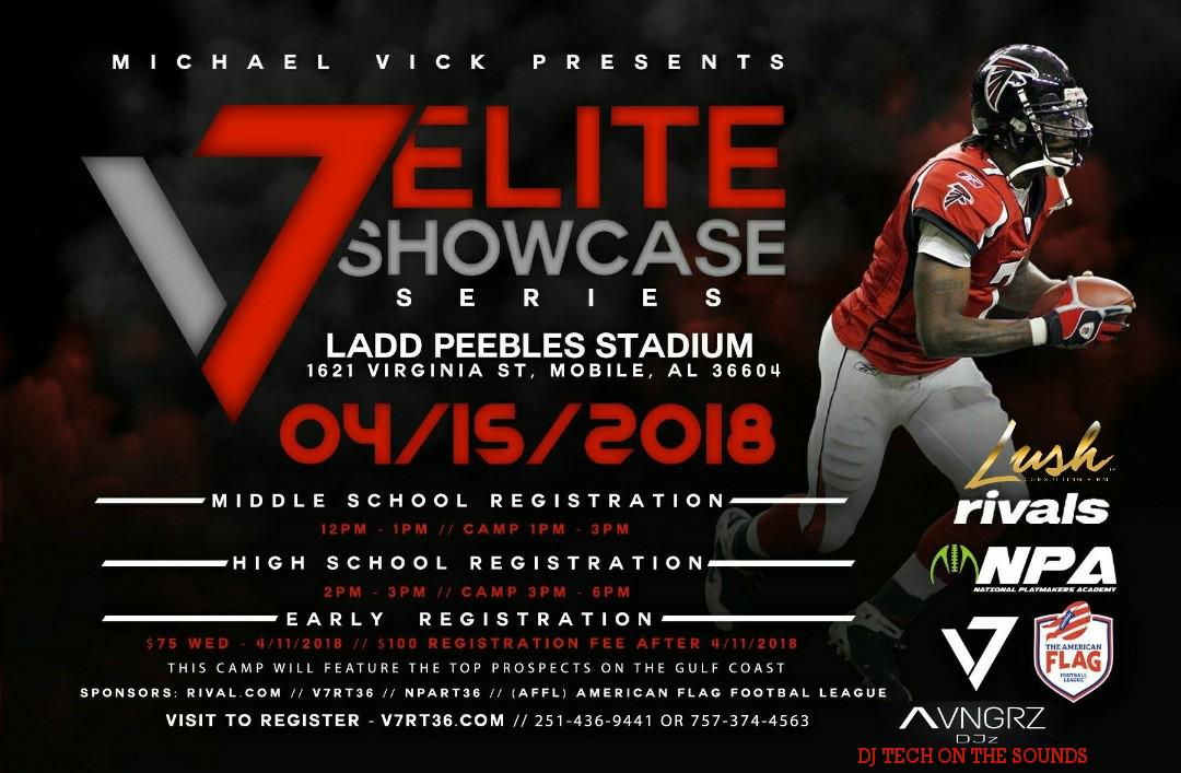 Mobile, AL –The V7 Elite Playmakers Showcase Series powered by National Playmakers Academy is the premier camp destination in the South and East coast. The V7 Elite Playmakers Showcase Series provides the only camp setting where athletes will receive a combination of instruction from elite college and professional coaches and athletes, exposure to media outlets, performance evaluated by athletes and coaches amongst the Gulf Coast, access to exclusive V7 gear, and competition from elite talent nationwide.