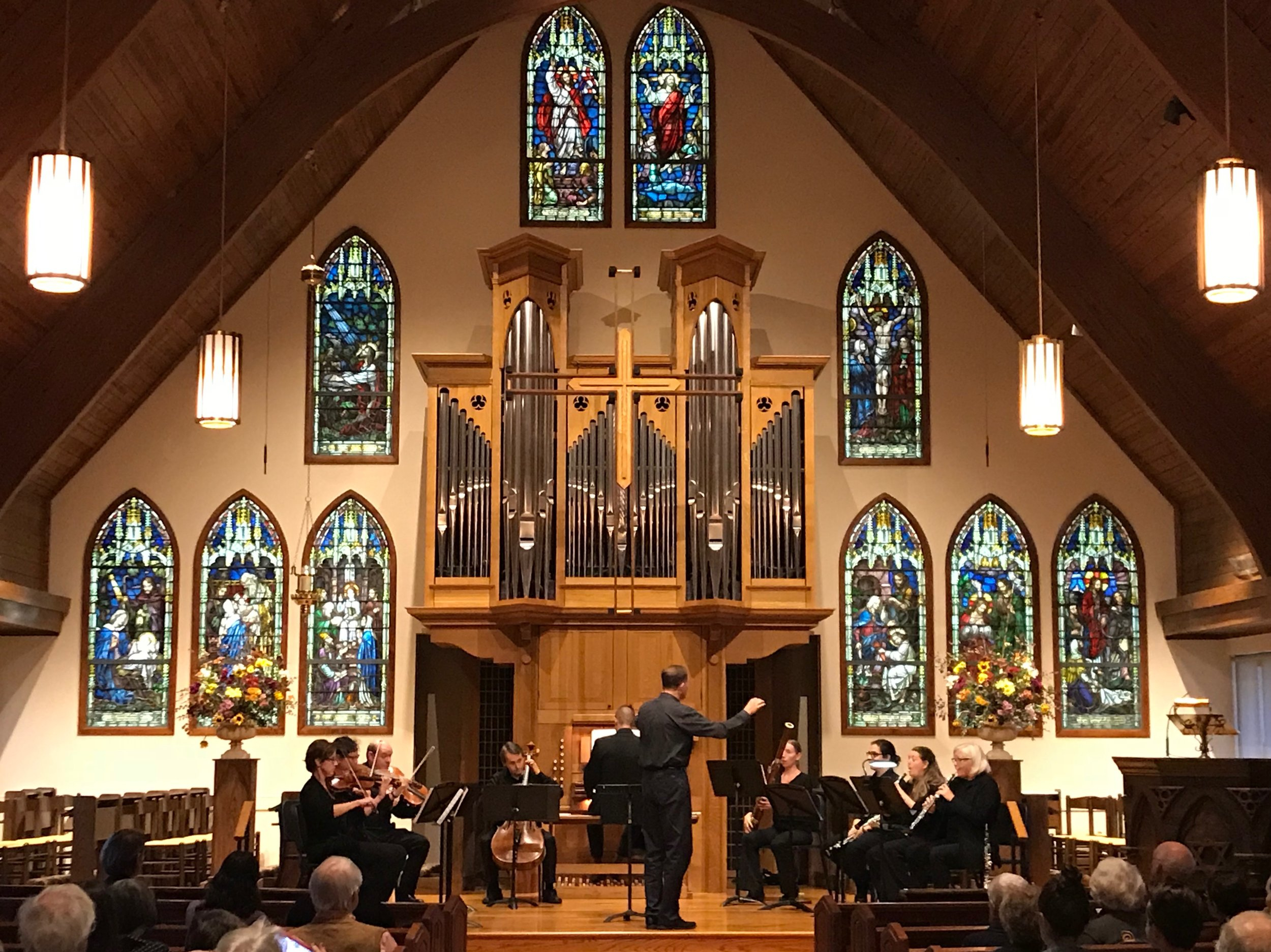 David Rhyne, S.C. Bach Artistic Director, conducting organist Brennan Szafron and the orchestra at St. James Episcopal, Greenville, SC on October 21, 2018.