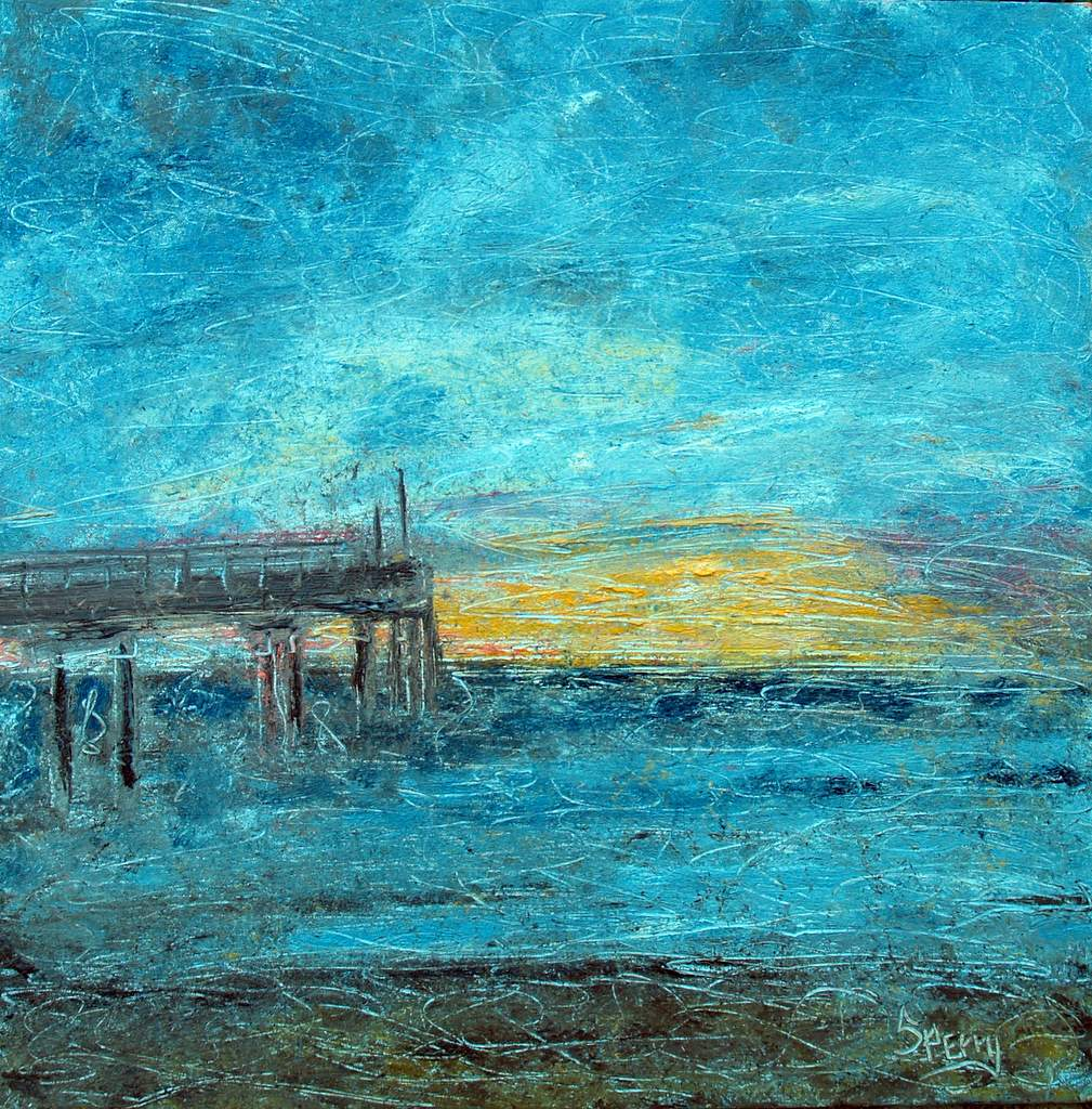 "'End of the Pier', 24""x24"" oil on canvas"