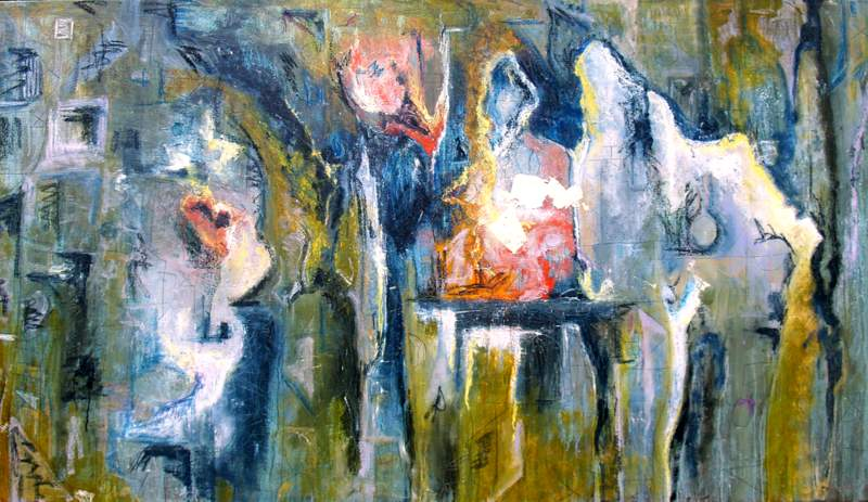 """'The Conversation', 70""""x40"""" mixed media on canvas"""