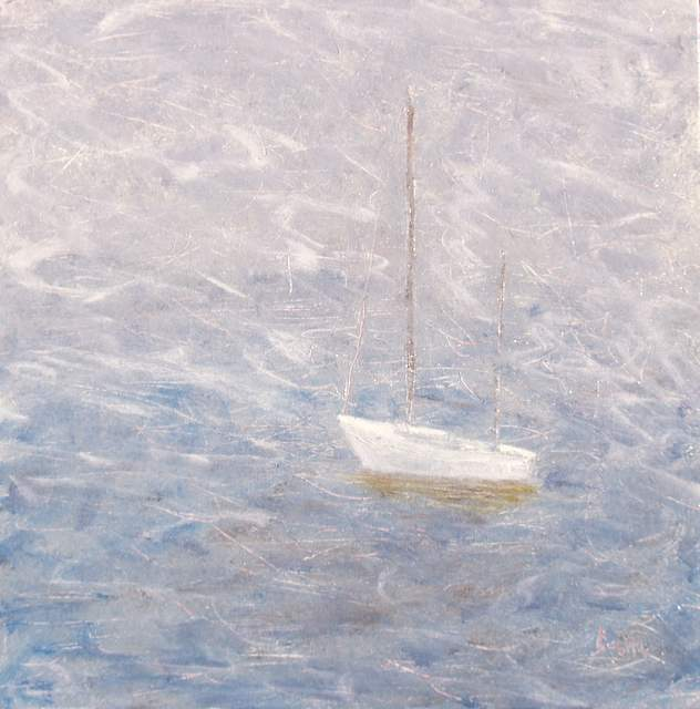 "Adrift, 20""x20"" oil on canvas"