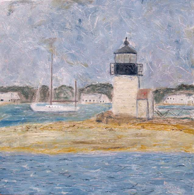 "'Passing Brant Light, Nantucket', 20""x20"" oil on canvas"
