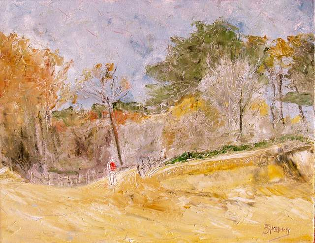 """'A Walk on the Beach', 18""""x14"""" oil on canvas"""