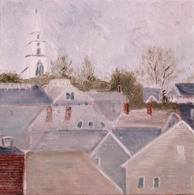 "'Rooftops of Nantucket', 18""x18"" oil on canvas"