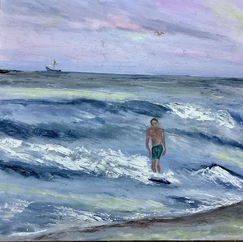 "Hang Ten, 24""x24"" oil"