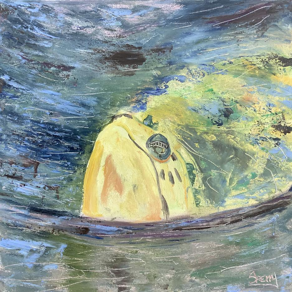 "Sea Turtle Surfacing, 18""x18"" oil"