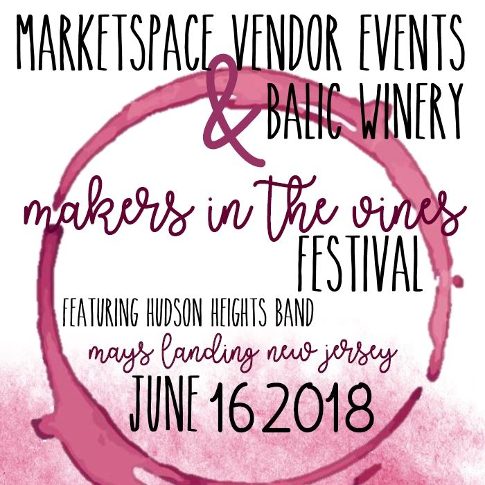 Makers in the Vines Festival at Balic Winery - Jun 16, 2018 - Gold Sponsor LevelRenewal by Anderson Greater PhiladelphiaSilver Sponsor LevelBrighter Days Co.Personally Yours AccessoriestruME Collection LLCKnits and PupsTobin ConnorLove Valentine ShopBe the Difference Clothing LLCWitty Piggy CraftsKobo TiesBronze Sponsor LevelBalloominatorsHarmonic BalanceMystical Blossoms