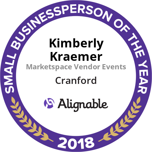Winner of Cranford's 2018 Small Businessperson of the Year - March 3, 2019 Cranford, NJ -- Kim Kraemer has had the distinct honor of winning the Alignable.com award for Small Businessperson of the Year for 2018 for her work with Marketspace Vendor Events. It has always been a top priority to shine a spotlight on the local small businesses and their owners in the communities where Marketspace holds handmade markets.