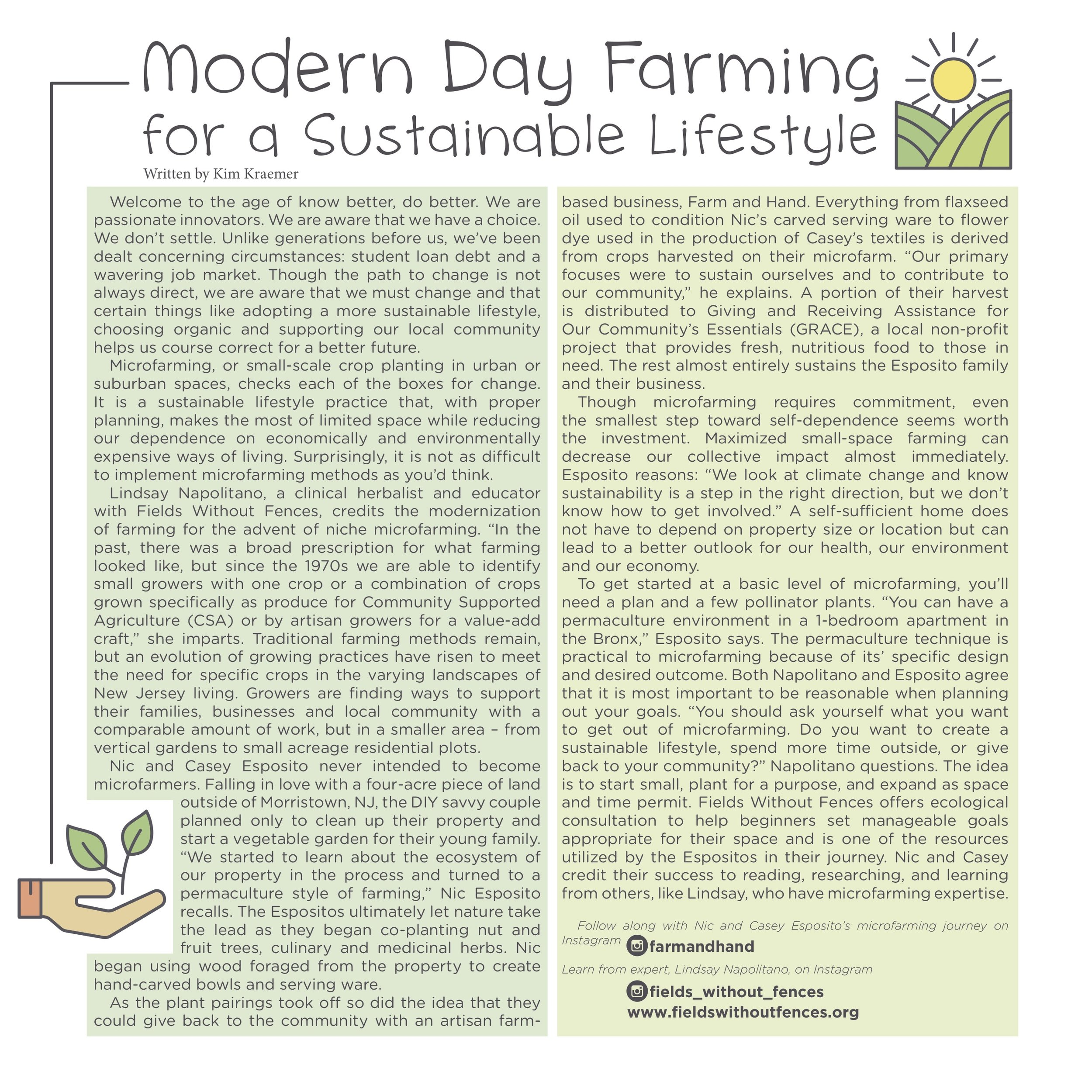 Modern Day Farming Boasts an Eco-Friendly Future in Breaker Zine - June 30, 2019 Morristown, NJ -- Kim Kraemer of Marketspace Vendor Events interviews Lindsay Napolitano of Fields without Fences as well as Nic and Casey Esposito of Farm and Hand. Their sustainable lifestyles set a precedent on how the future could be embracing micro-farming and self-dependence. Read more in Breaker Zine issue nine.