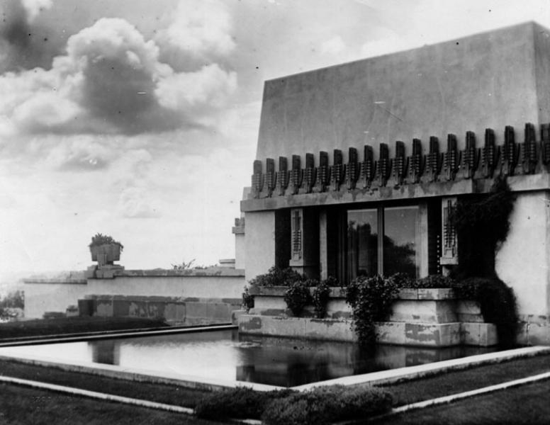 Hollyhock House Exterior  Photo via Los Angeles Public Library