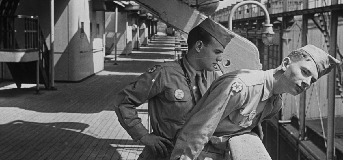 Two members of the US Armed Forces aboard the Queen Mary  Photo via  www.queenmary.com