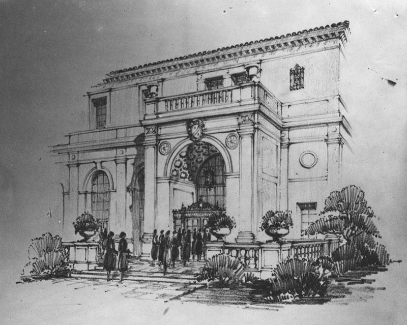 Architect rendering of the Ebell Club entrance  Photo via Los Angeles Public Library (1927)