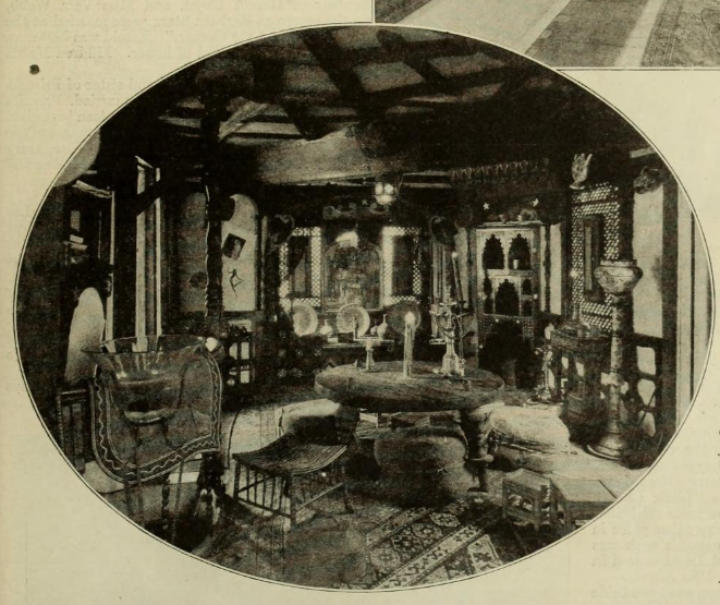 The living room with items from  The Thief of Bagdhad  and  Omar the Tentmaker .  Photo via  Photoplay  (1924)