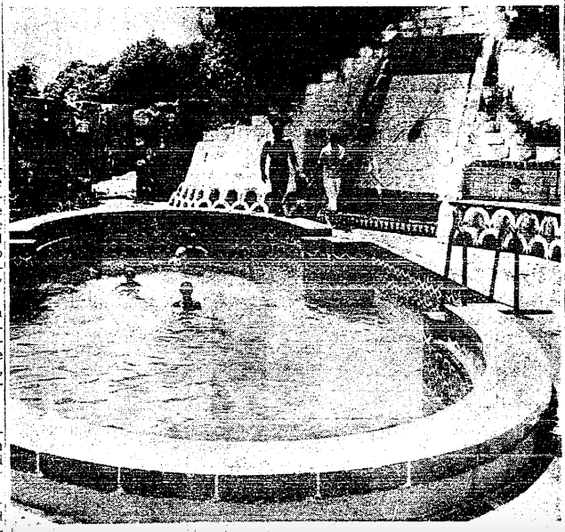 Gregory family in the pool.  Photo via  Los Angeles Times  (1962)