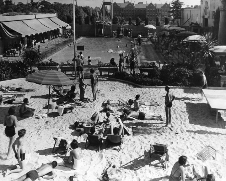 Lido Pool and Beach at the Ambassador Hotel.  Photo via California Digital Library (1928)