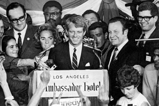 Robert F. Kennedy at the Ambassador Hotel after the California Democratic Primary.  Photo via Encylopedia Britannica Online (1968)