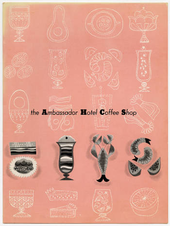 Menu from the Ambassador Hotel Coffee Shop
