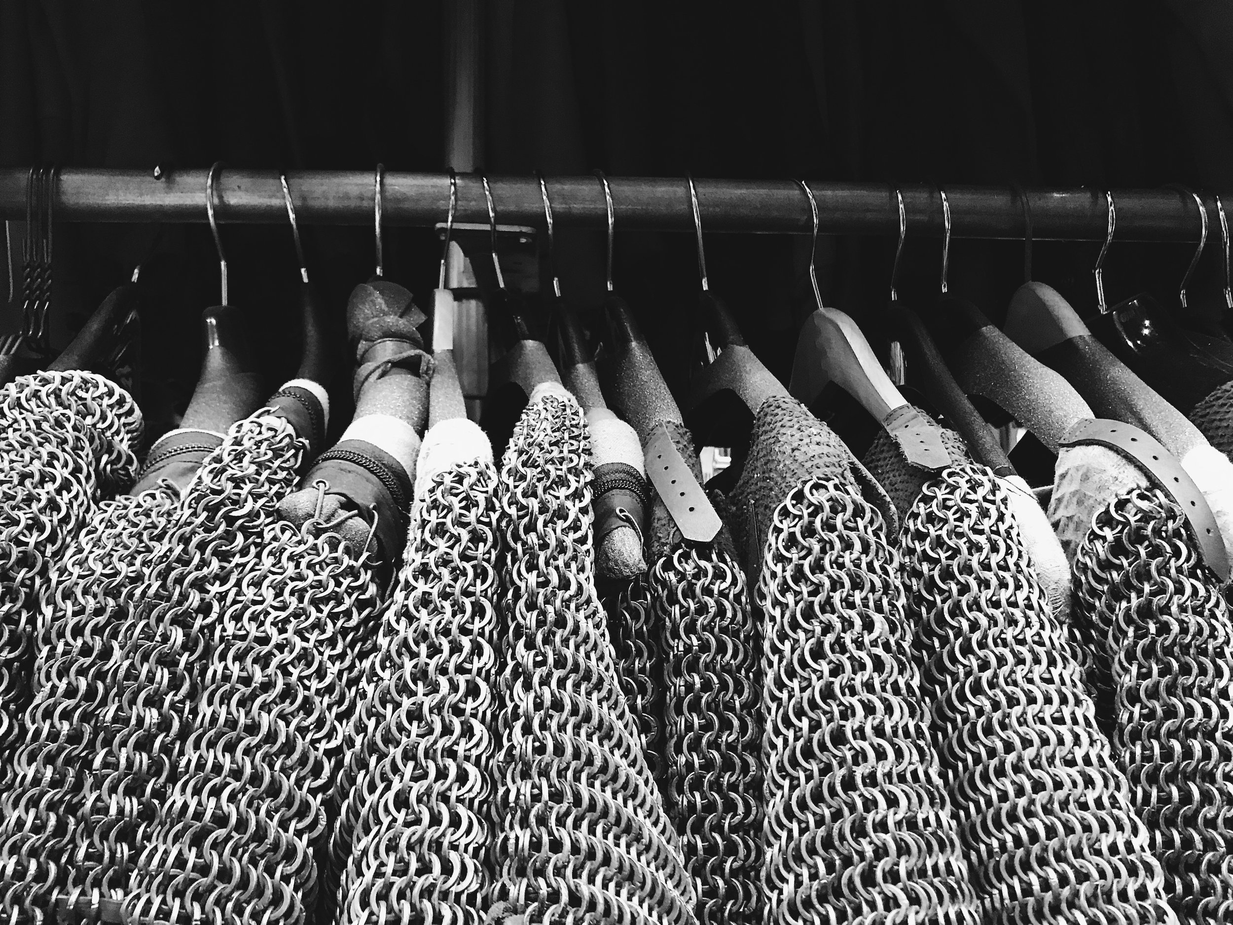 Chain mail costumes on the racks at Western Costume.  Photo via  Finding Lost Angeles  (2018)