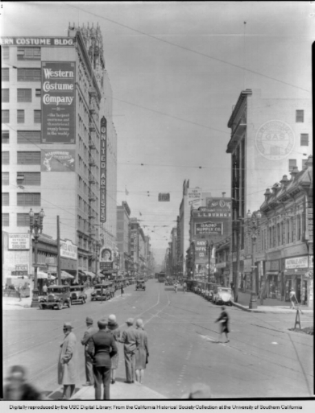 Western Costume's original building on Broadway in downtown Los Angeles.  Photo via the USC Digital Library, California Historical Society Collection.