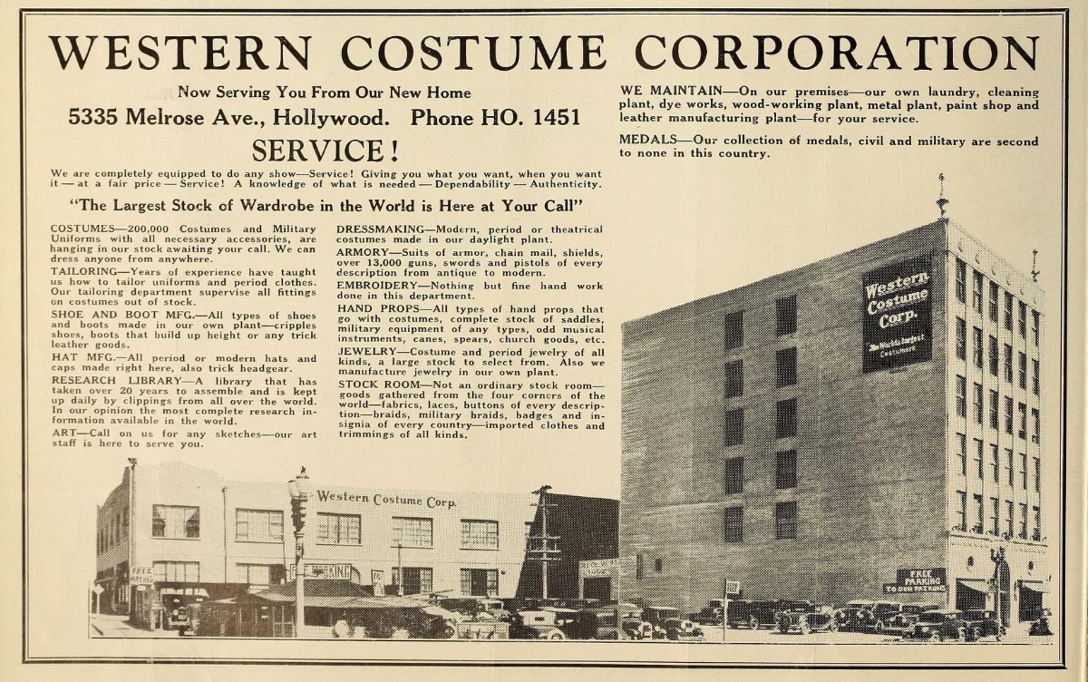 Advertisement for Western Costume's new location on Melrose Ave.  Photo via  Hollywood Filmograph .