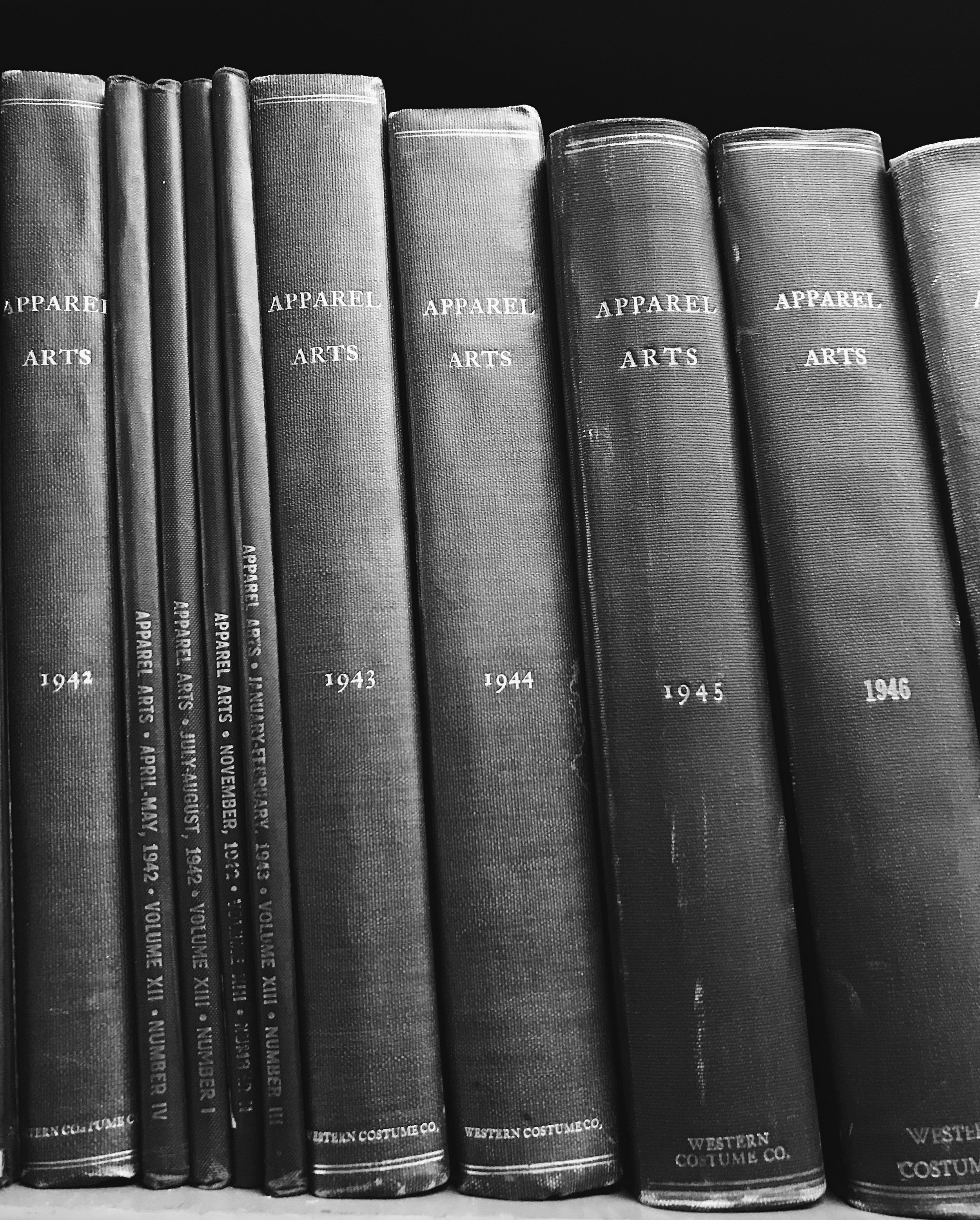1940s volumes of  Apparel Arts  magazine (predecessor to  GQ ) in Western Costume's research library.  Photo via  Finding Lost Angeles  (2018).