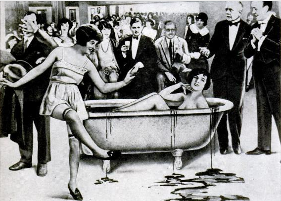 "A tabloid cartoon of Carroll's famous ""bathtub"" party that appeared in the  New York Evening Graphic  (1926)."