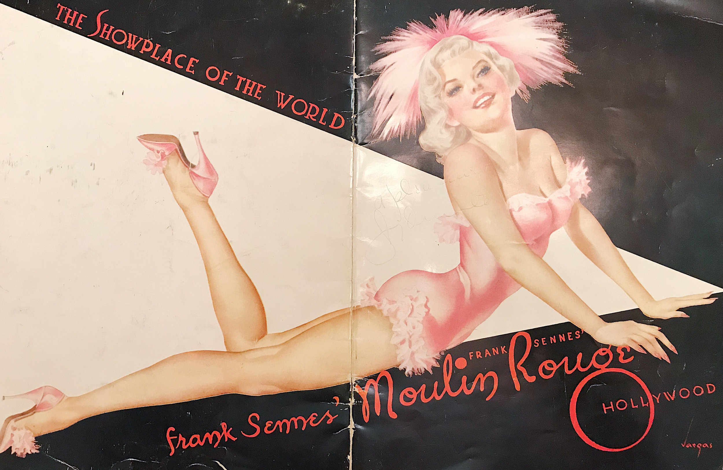 Program from Frank Sennes' Moulin Rouge, featuring a Vargas girl illustration on the cover. Photo via  Finding Lost Angeles  (2018).