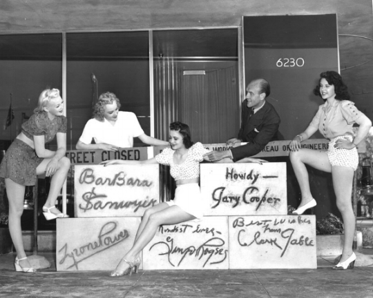 Earl Carroll with some of the chorus girls and the famous autographed cement blocks. Photo by Gene Lester via Los Angeles Public Library (August 6, 1940).