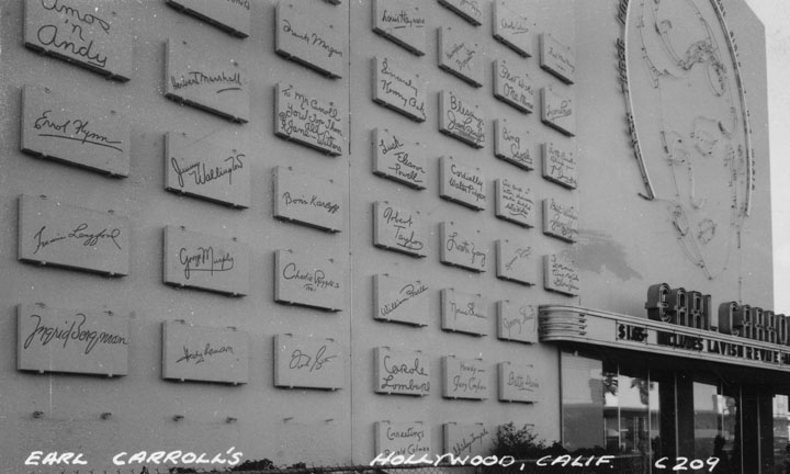 "Earl Carroll's 'Wall of Fame"" (1948). Photo via Los Angeles Public Library."