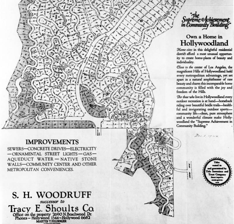 Hollywoodland advertisement and map. Photo via Los Angeles Public Library (date unknown)