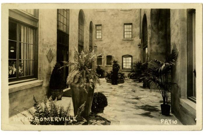 Postcard from Hotel Somerville patio via Memphis Public Library Digital Archives (c. 1920s)