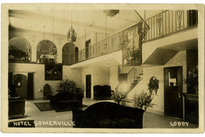 Postcard from Hotel Somerville lobby via Memphis Public Library Digital Archives (c. 1920s)