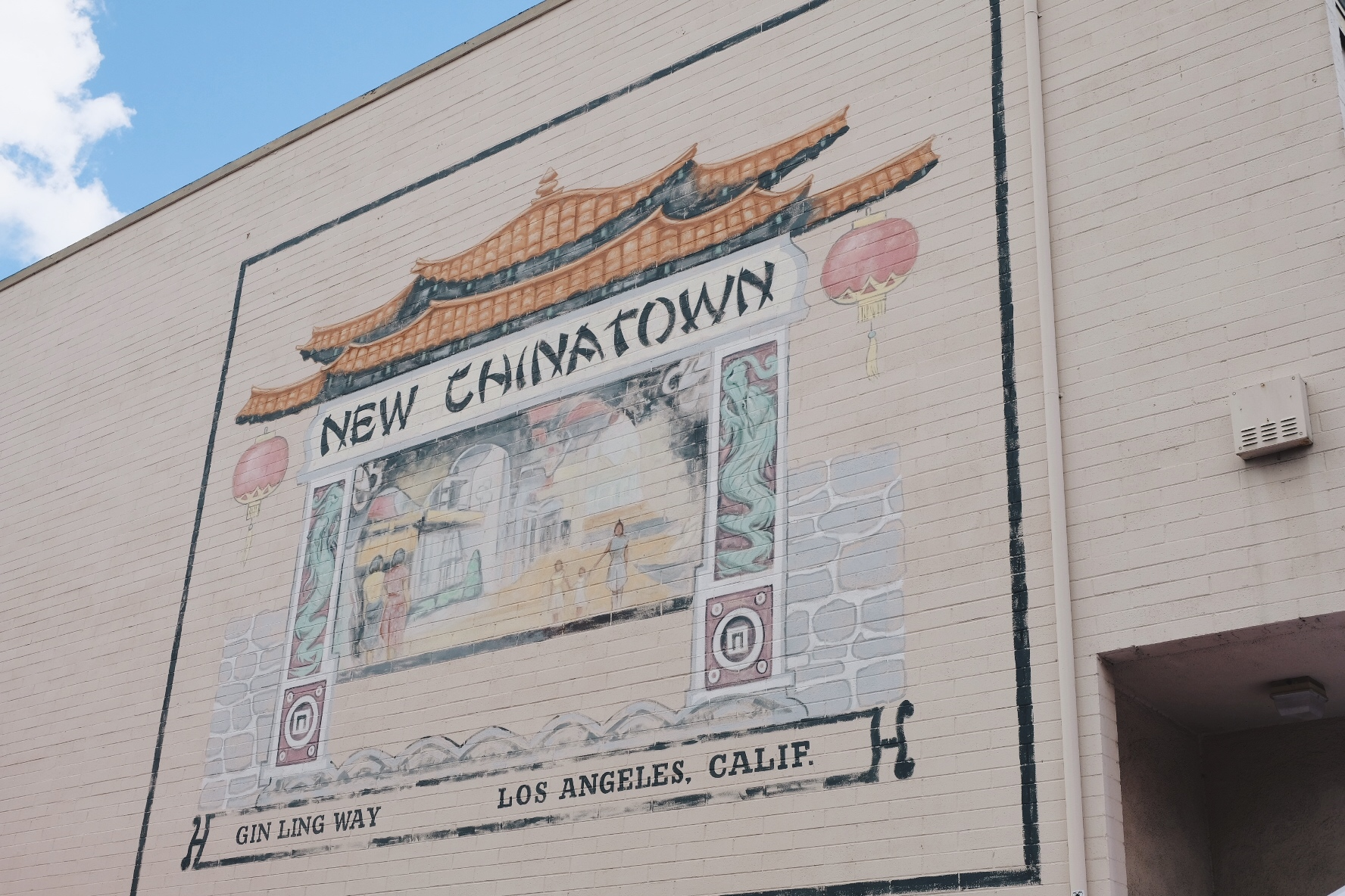 Painted mural in New Chinatown