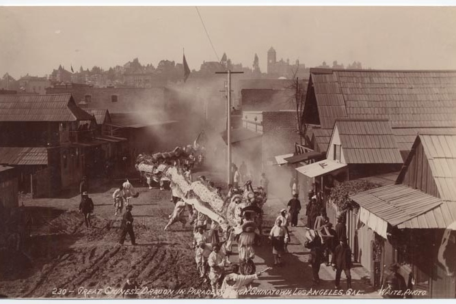 """""""The Great Chinese Dragon in Parade through Chinatown, Los Angeles, Cal."""" Photo by C. B. Waite, California State Library (1895)"""