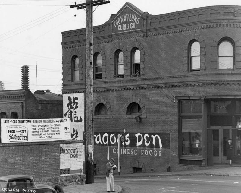 Dragon's Den restaurant in Old Chinatown. Photo by Harry Quillen via Los Angeles Public Library (c. 1930s)