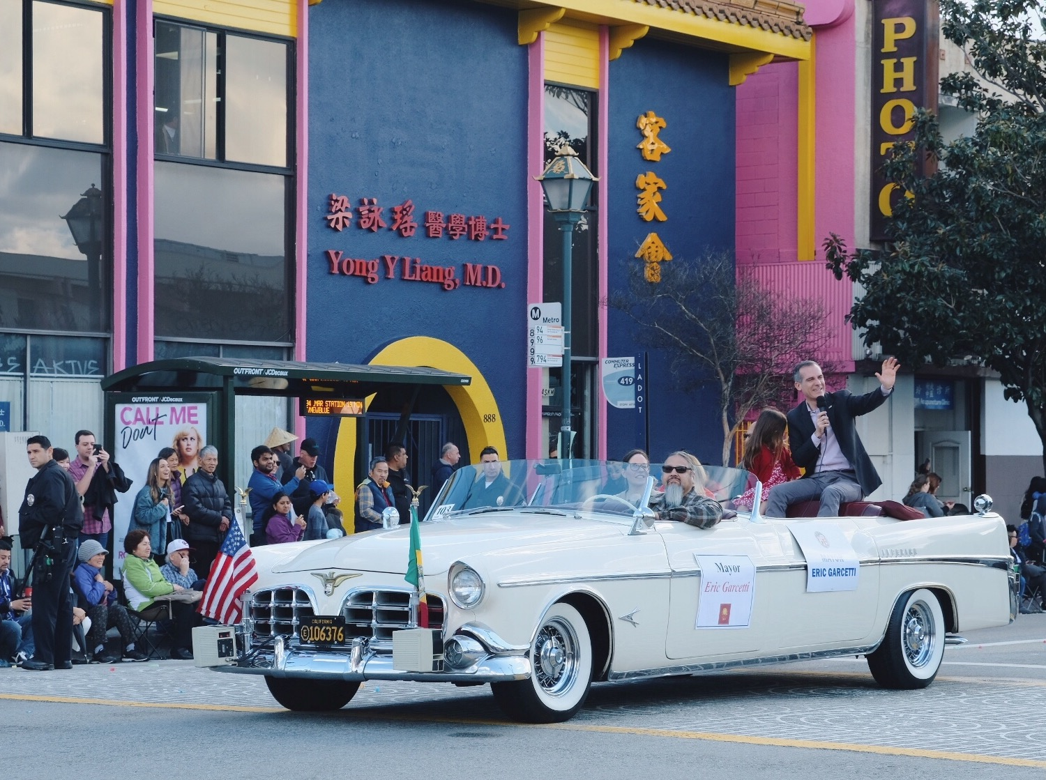 Los Angeles Mayor Eric Garcetti in the Golden Dragon Parade. Photo via  Finding Lost Angeles  (2019)